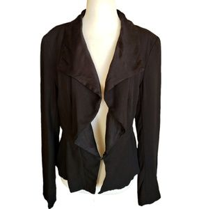 Anthro Tabitha Black Waterfall Jacket Satin Trim